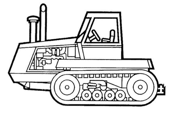 Bulldozer, : Bulldozer Coloring Page
