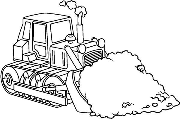Bulldozer, : Bulldozer Pulling Dirt Away Coloring Page