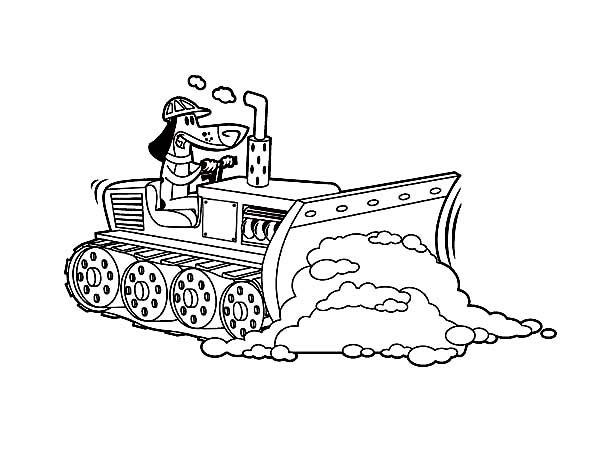 Bulldozer, : Bulldozer Pulling Dirt in Digger Coloring Page