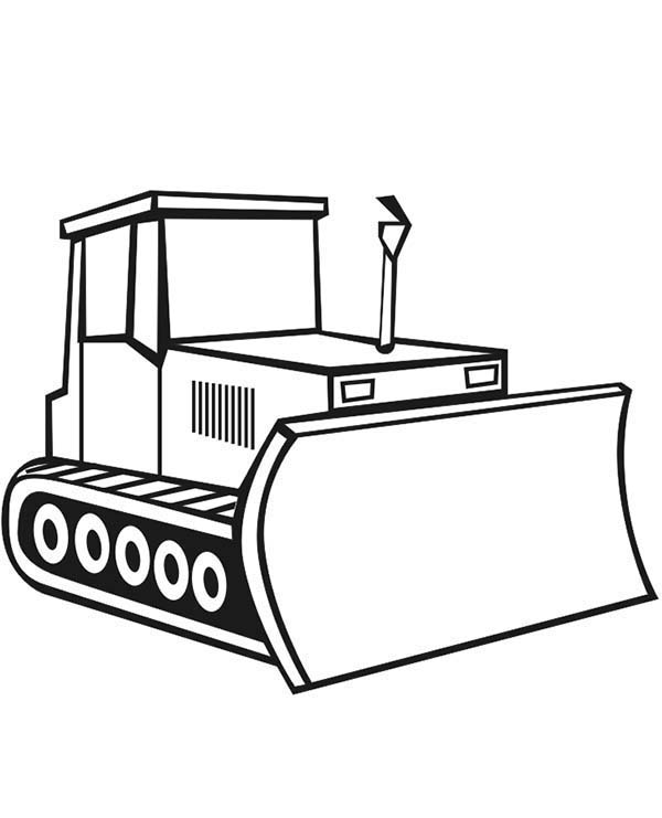 Construction, : Bulldozer for Construction Work Coloring Page