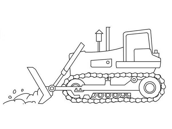 Bulldozer, : Bulldozer on Work Coloring Page