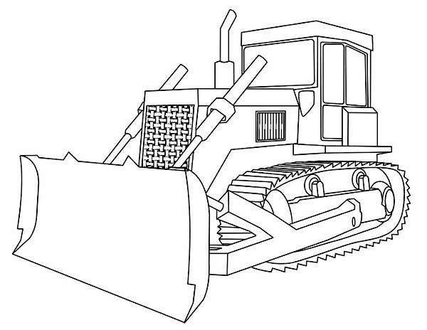 Bulldozer, : Bulldozer with Straight Blade Coloring Page