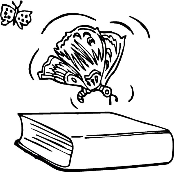 Books, : Butterfly Over the Book Coloring Page