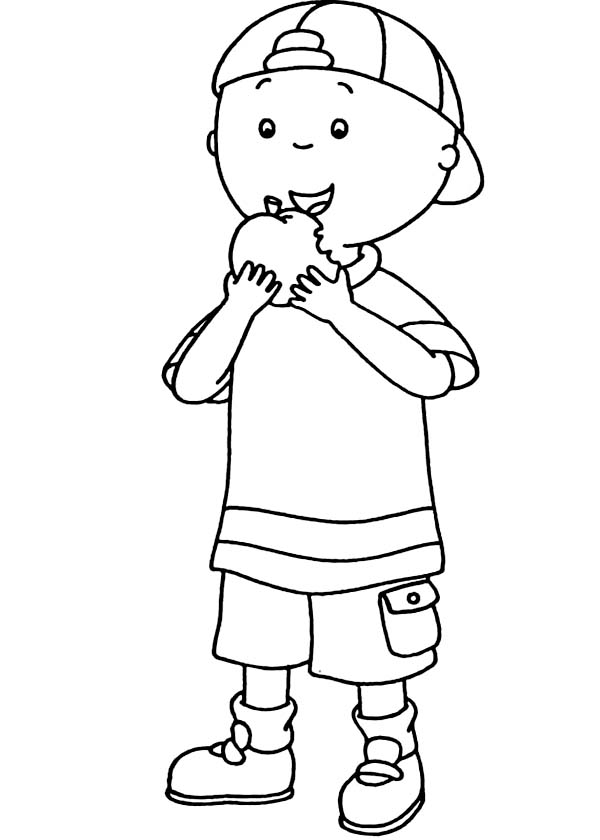 Caillou, : Caillou Eating Apple Coloring Page
