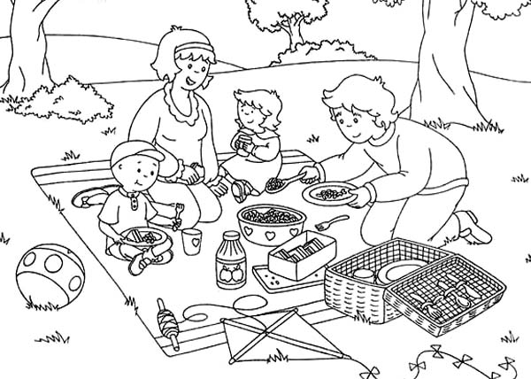 Caillou, : Caillou Family Open Their Picnic Food Coloring Page