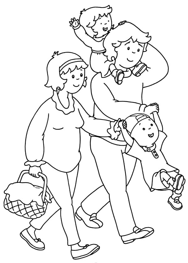 Caillou, : Caillou Family is Going to Picnic Coloring Page