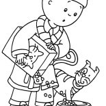 Caillou And Rosie And Their Cat Gilbert Coloring Page : Coloring Sun
