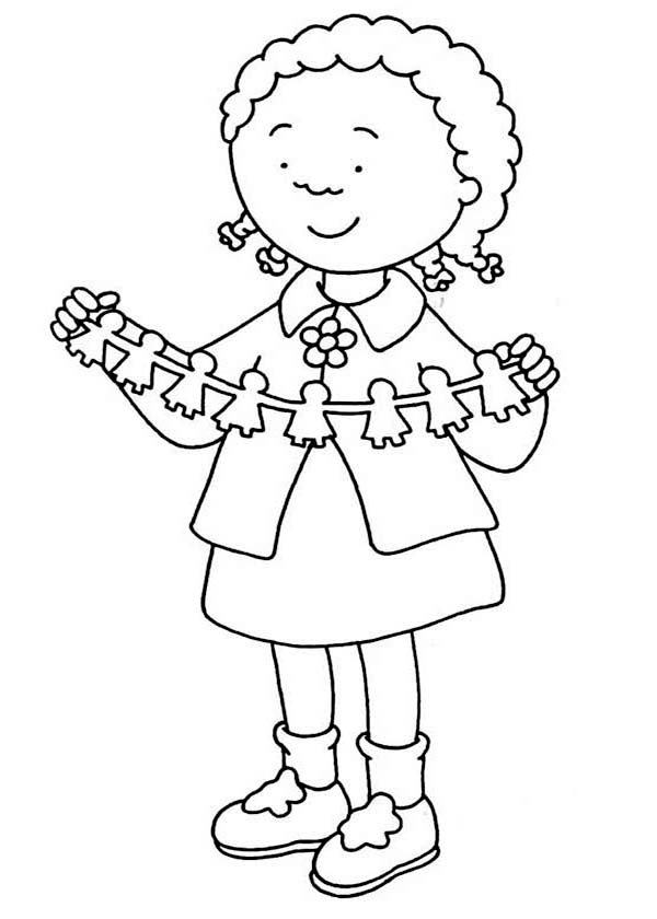 Caillou, : Caillou Friend Clementine Coloring Page
