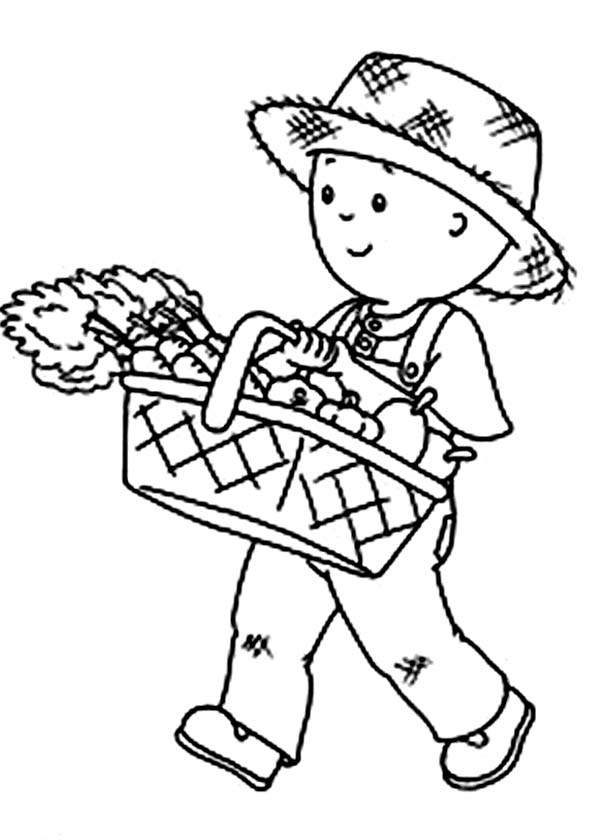 Caillou, : Caillou Harvest Carrot Coloring Page