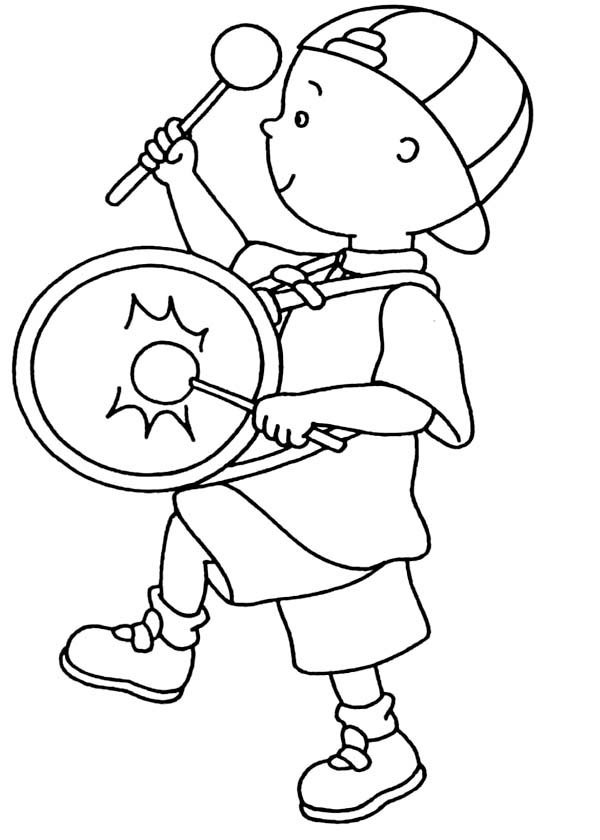 Caillou, : Caillou Marching Band Coloring Page