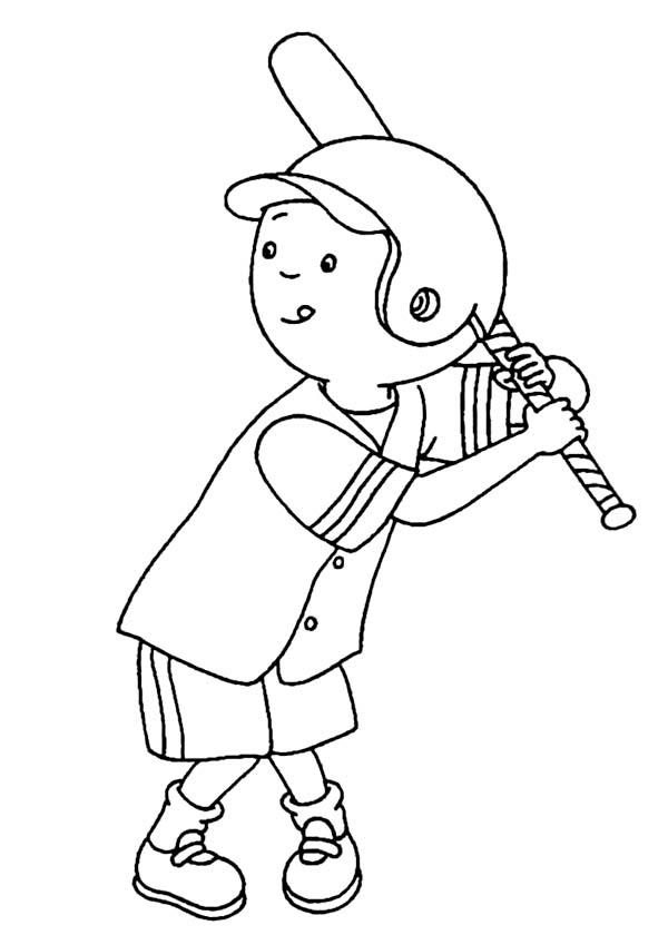 Caillou, : Caillou Play Baseball Coloring Page