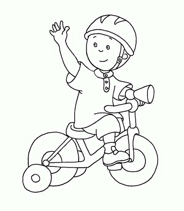 Caillou, : Caillou Ride Tricycle Coloring Page