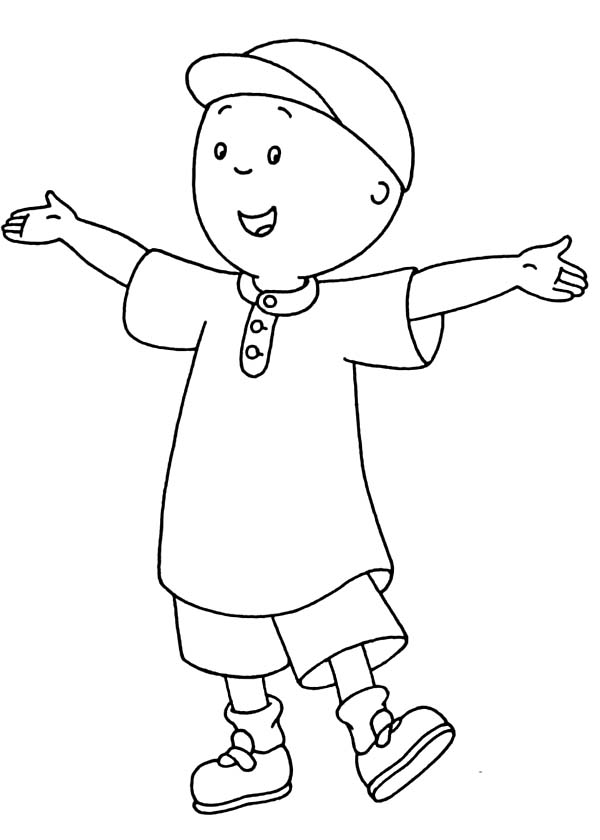Caillou, : Caillou Spread His Hand Coloring Page
