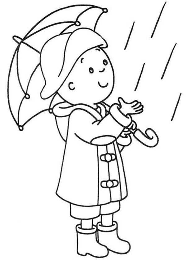 Caillou, : Caillou Wear Raincoat Coloring Page