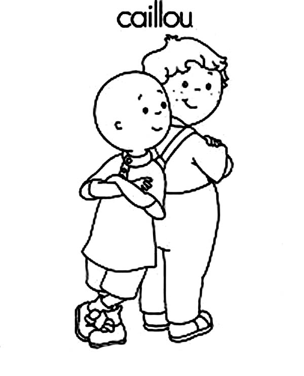 Caillou, : Caillou and His Best Friend Leo Coloring Page