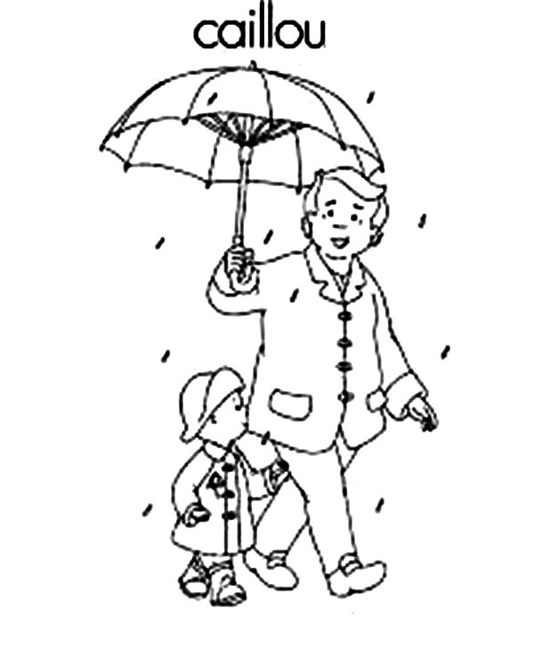 Caillou, : Caillou and His Father Coloring Page
