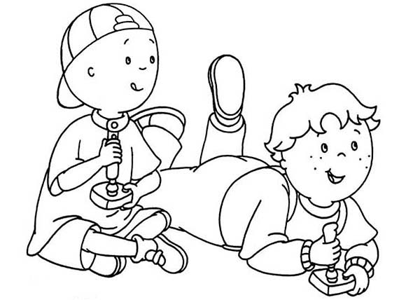 Caillou, : Caillou and Leo Play Video Games Coloring Page