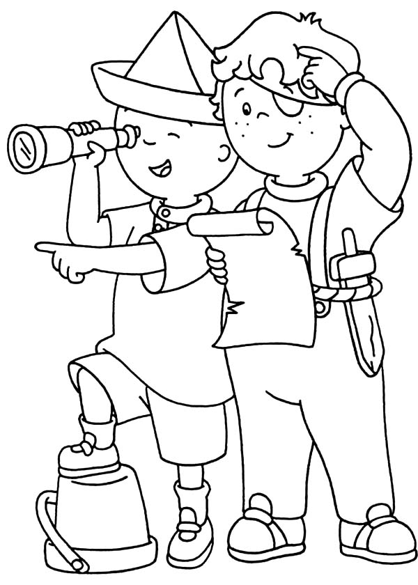 Caillou, : Caillou and Leo Playing Pirate Coloring Page