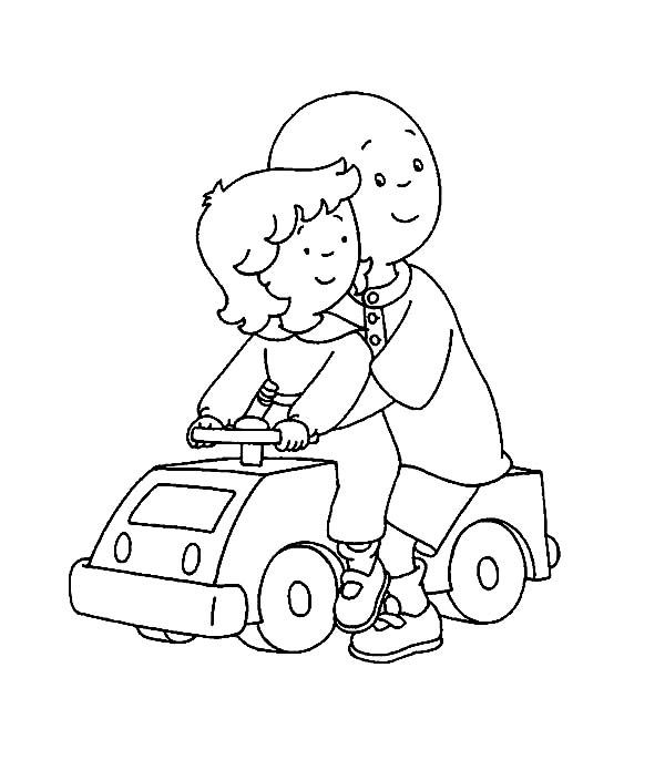Caillou, : Caillou and Rosie Ride Car Toy Coloring Page