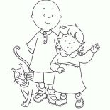 Caillou Family Is Going To Picnic Coloring Page : Coloring Sun