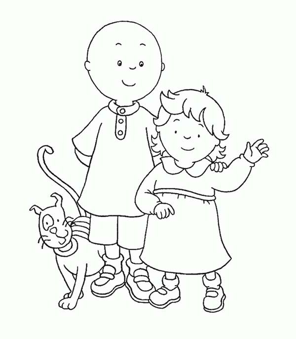 Caillou, : Caillou and Rosie and Their Cat Gilbert Coloring Page
