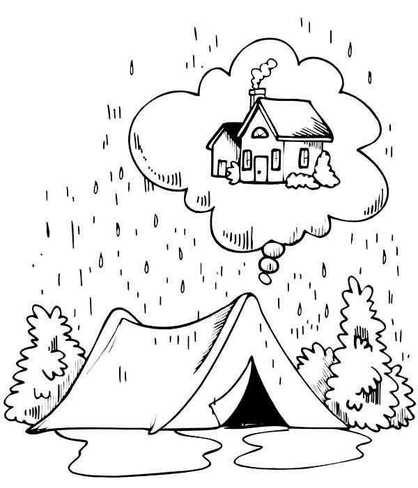Camping, : Camping in the Rain Coloring Page