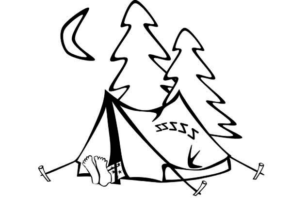 Camping, : Camping in the Wood Coloring Page