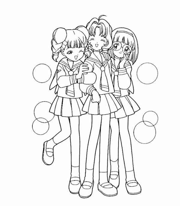 Cardcaptor Sakura, : Cardcaptor Sakura Characters Coloring Page
