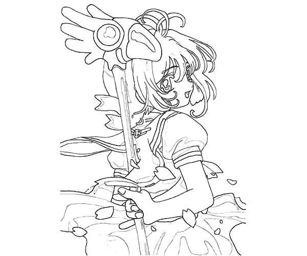 Cardcaptor Sakura, : Cardcaptor Sakura Coloring Page for Kids