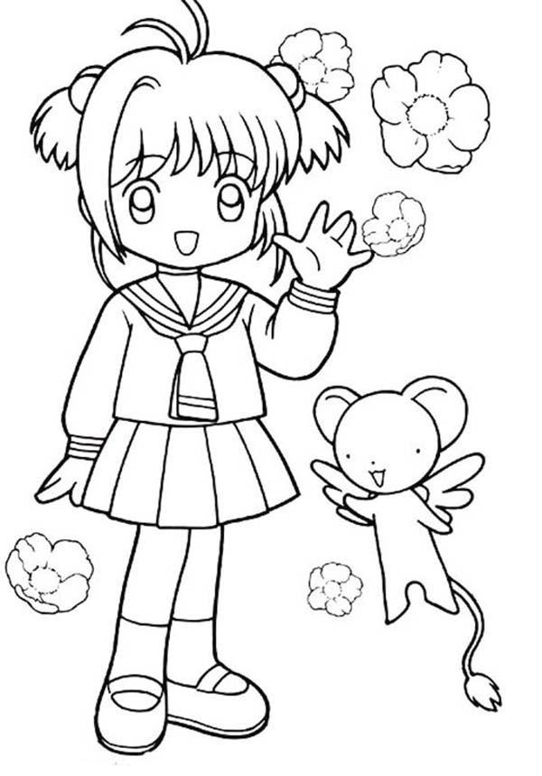 Cardcaptor Sakura, : Cardcaptor Sakura and Keroberos Coloring Page