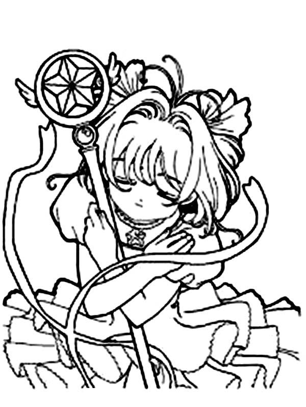 Cardcaptor Sakura, : Cardcaptor Sakura in Action Coloring Page