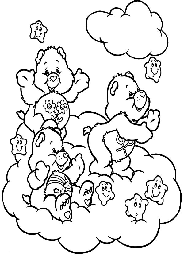 Care Bear, : Care Bear Harvesting Stars Coloring Page