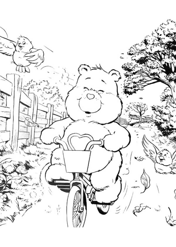 Bicycle, : Care Bear with a Bicycle Coloring Page