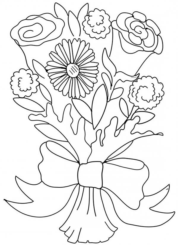 Carnation Flower, : Carnation and Rose Flower Bouquet Coloring Page