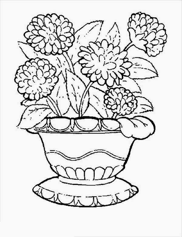 Carnation Flower, : Carnation in Flower Pot Coloring Page