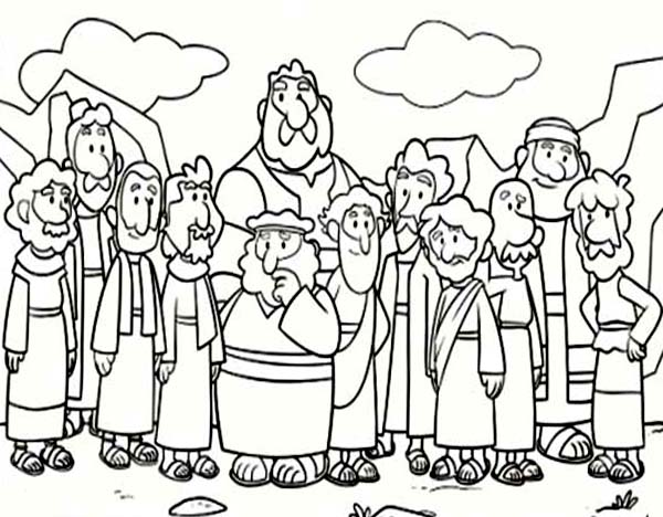 Disciples, : Cartoon od Jesus Disciples Coloring Page