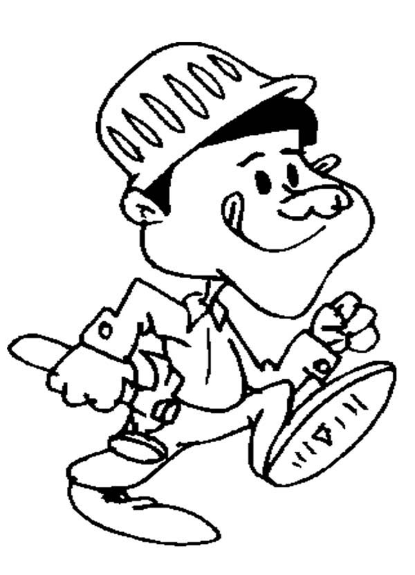 Construction, : Cartoon of Construction Worker Coloring Page