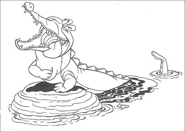Crocodile, : Cartoon of Crocodile Laughing Coloring Page