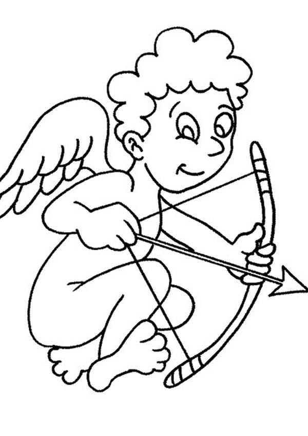 Cupid, : Cartoon of Cupid Coloring Page