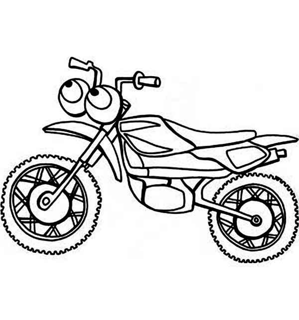 Dirt Bike, : Cartoon of Dirt Bike Coloring Page