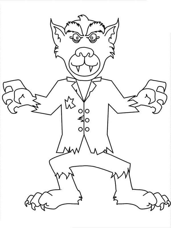 Werewolf, : Cartoon of Werewolf Coloring Page