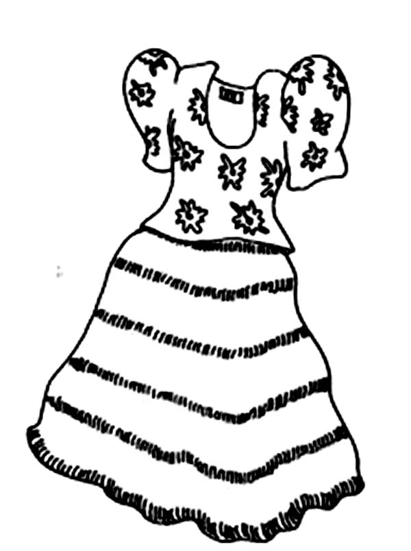 Dress, : Casual Dress Coloring Page