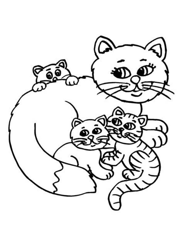 Cat, : Cat Mother Coloring Page