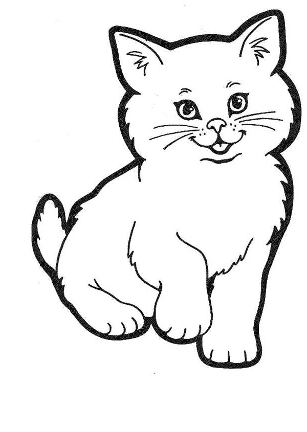 Cat, : Cat Sweet Smiling Coloring Page