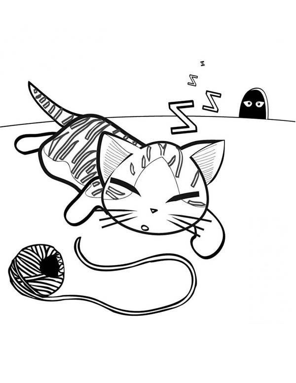 Cat, : Cat is Falling Asleep After Play with Ball of Yarn Coloring Page
