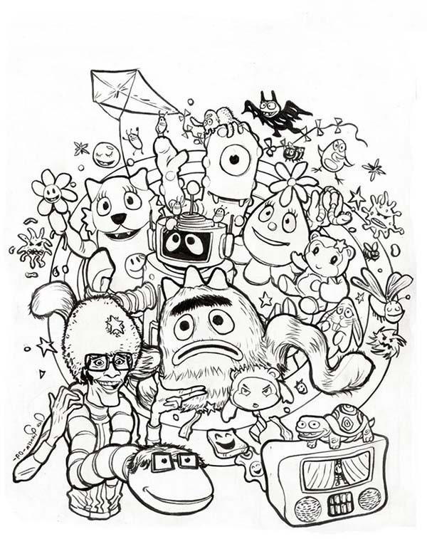 Yo Gabba Gabba, : Celebrating Halloween in Yo Gabba Gabba Coloring Page
