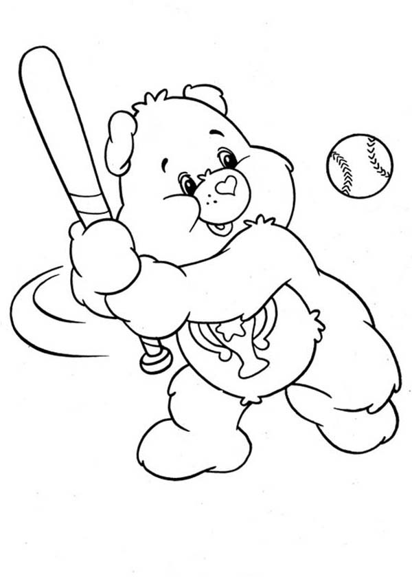Care Bear, : Champ Bear Hit Home Run in Baseball League in Care Bear Coloring Page