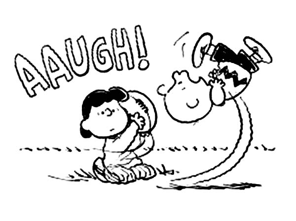 Charlie Brown, : Charlie Brown Fail to Kick Football Coloring Page