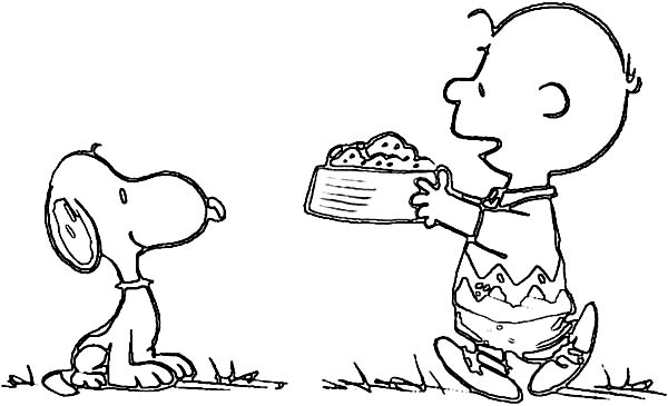 Charlie Brown, : Charlie Brown Feed His Pet Snoopy the Dog Coloring Page