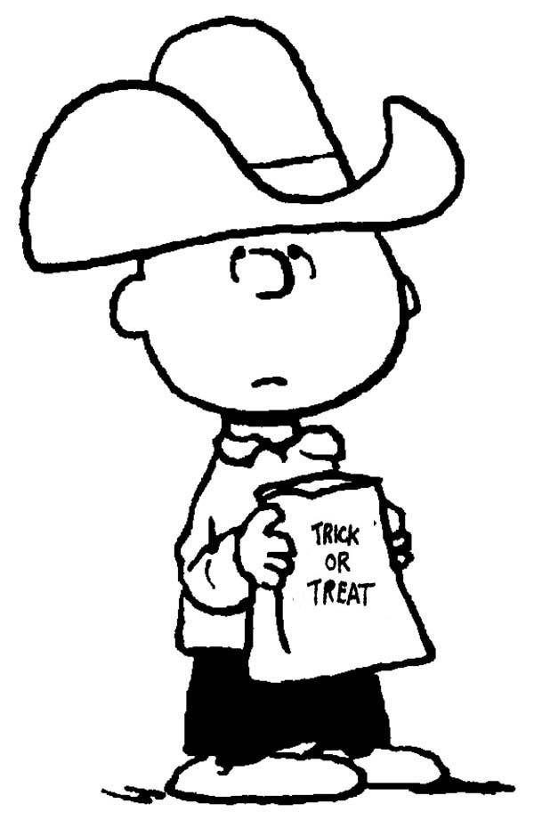 Charlie Brown, : Charlie Brown Halloween Trick or Treat Coloring Page